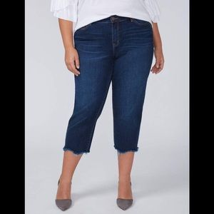 Lane Bryant Girlfriend Crop Capris Dark Iris Wash
